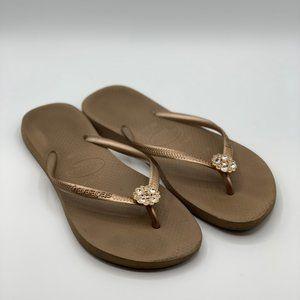 Havaianas Slim Crystal Flower Flip Flop Sandals